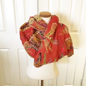 Anthro boho embroidered colorful infinity scarf